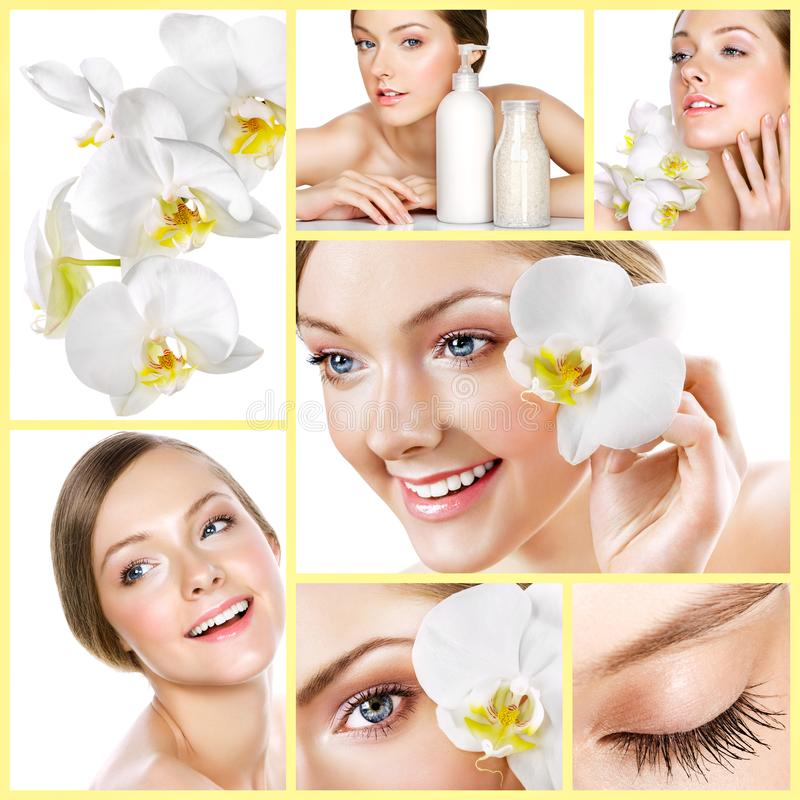 Collage of several photos for healthcare and beauty industry stock image