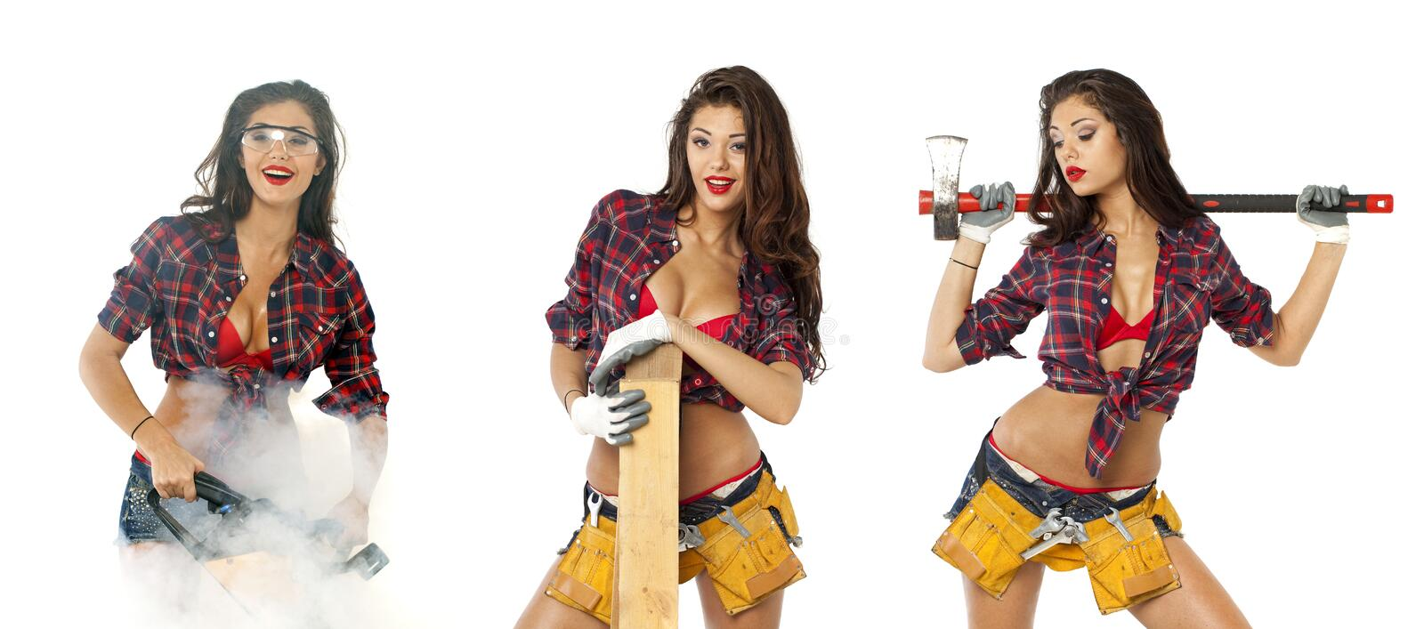 Collage. girl with construction tools. Girl with construction tools isolated on white background stock photos