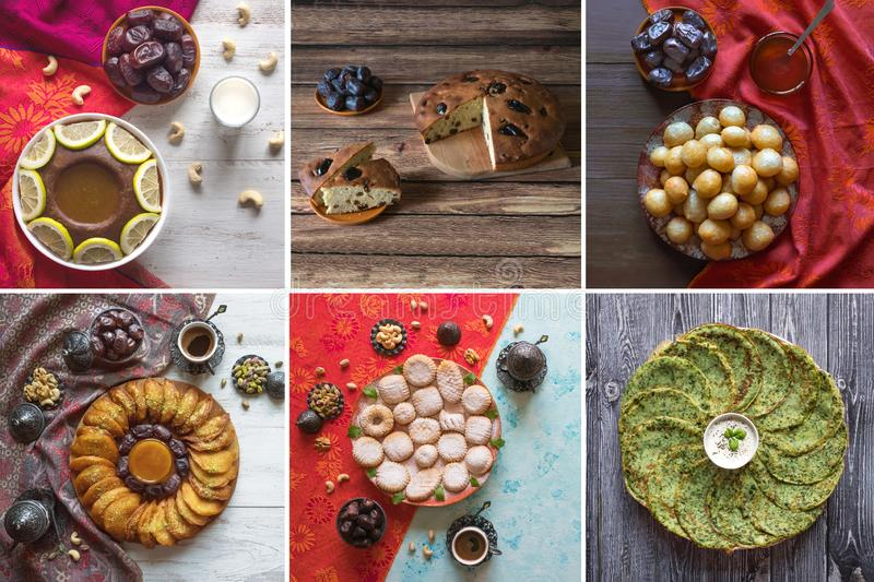 Collage showing Arabian sweets. Arabian cuisine. Ramadan food background. Collage showing Arabian sweets. Arabian cuisine. Ramadan food background royalty free stock photography