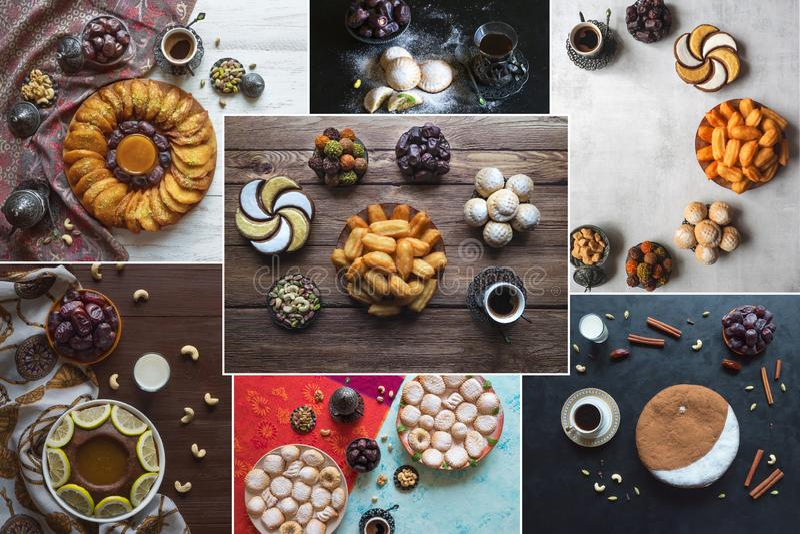 Collage showing Arabian sweets. Arabian cuisine. Ramadan food background. Collage showing Arabian sweets. Arabian cuisine. Ramadan food background stock image