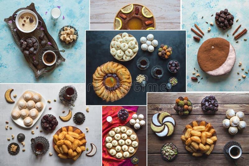 Collage showing Arabian sweets. Arabian cuisine. Ramadan food background. Collage showing Arabian sweets. Arabian cuisine. Ramadan food background royalty free stock photo