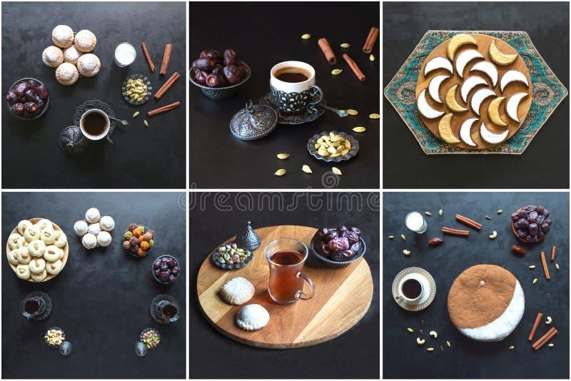 Collage showing Arabian sweets. Arabian cuisine. Ramadan food background.  royalty free stock photography