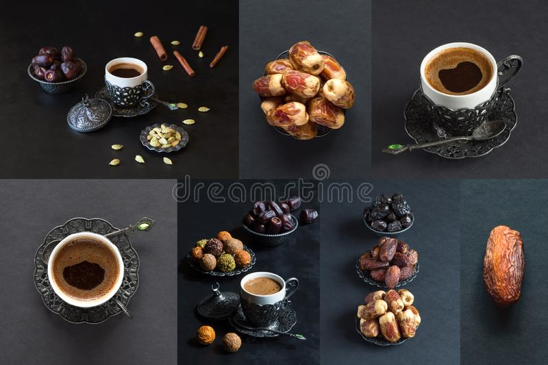 Collage the showing different kind of dates with cup of coffee stock photos