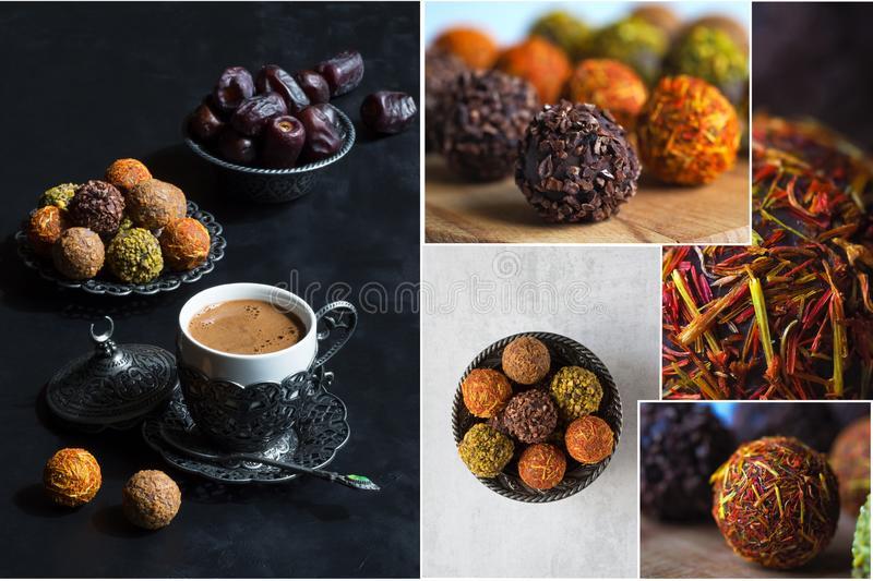 Collage the showing healthy organic energy bites with nut and dates. Collage the showing healthy organic energy bites with nut and dates royalty free stock photo