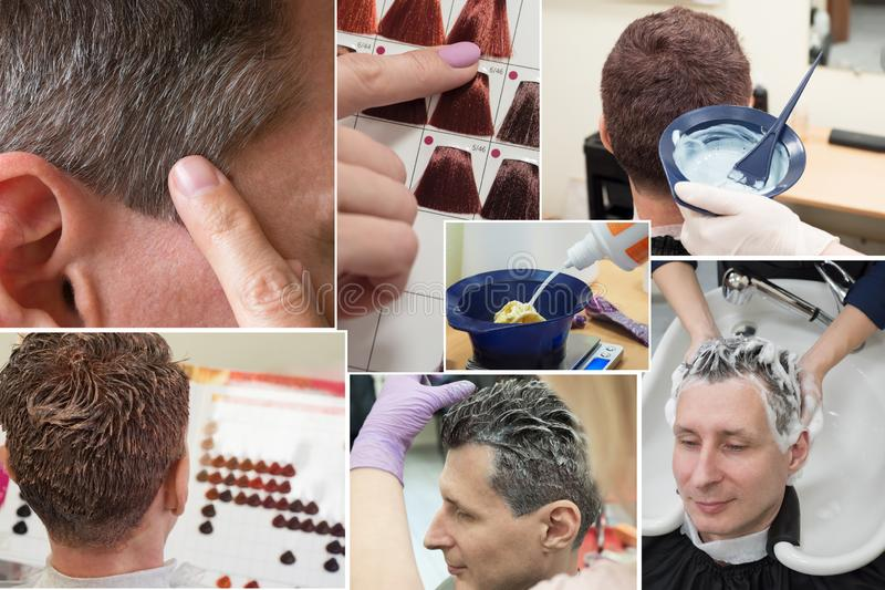 Collage showing phases of hair coloring in the beauty salon. royalty free stock images