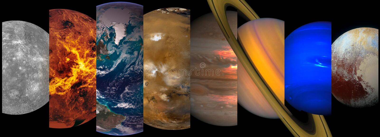 Collage slicing planets of the solar system. On a black background. Mercury, Venus, Earth, Mars, Jupiter, Saturn, Uranus, Pluto. Elements of this image royalty free stock images