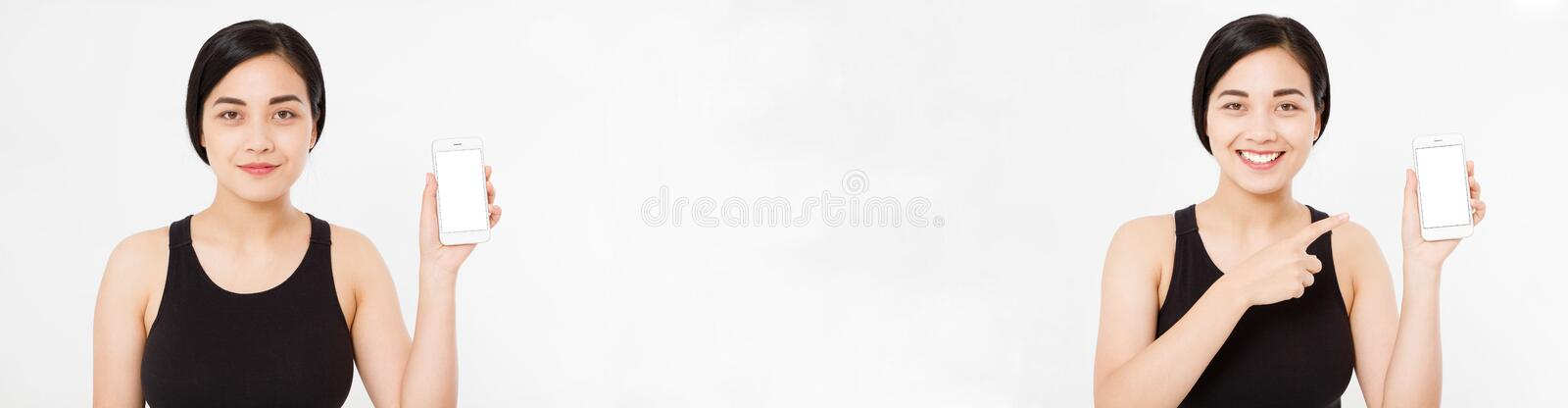Collage of smiling asian, korean woman, girl is pointing on smartphone standing on white background set. Design template. stock images