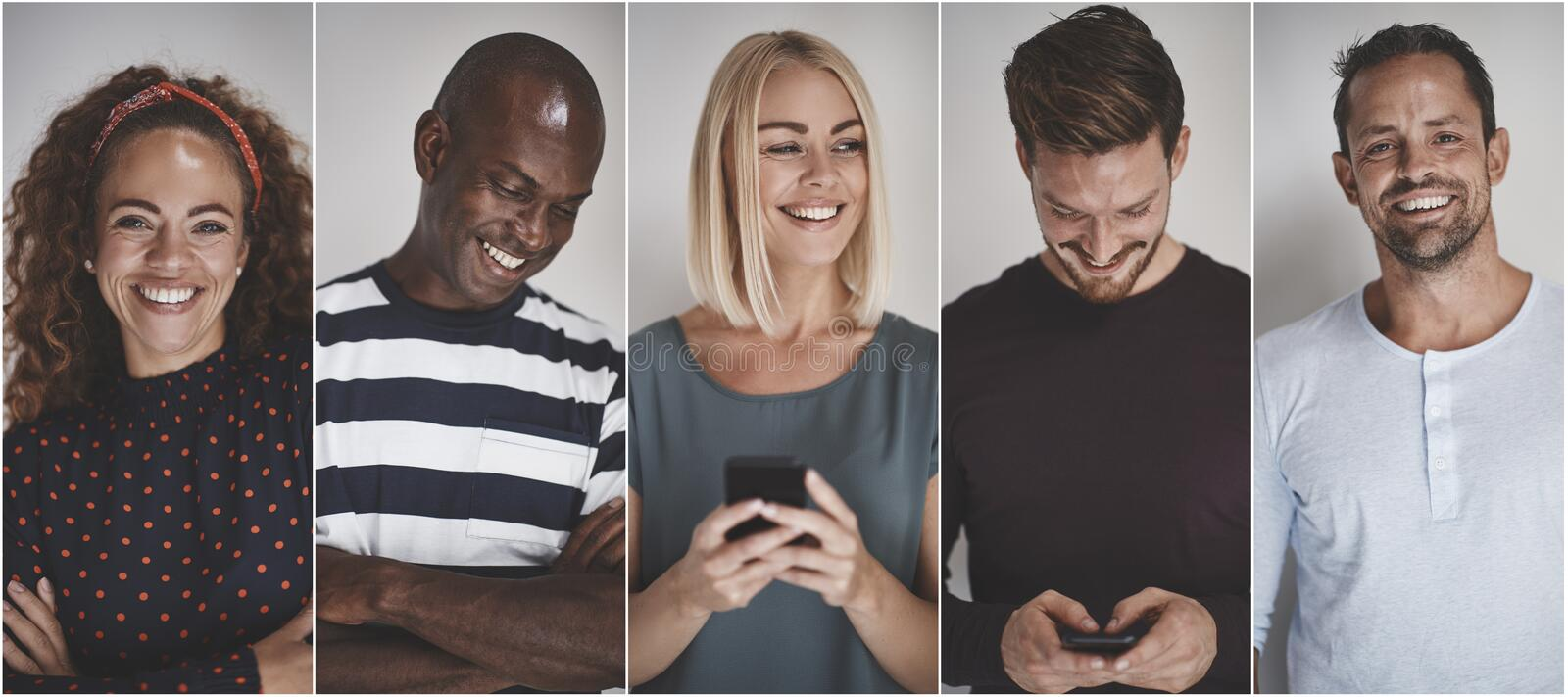 Collage of a smiling group of diverse entrepreneurs stock photography