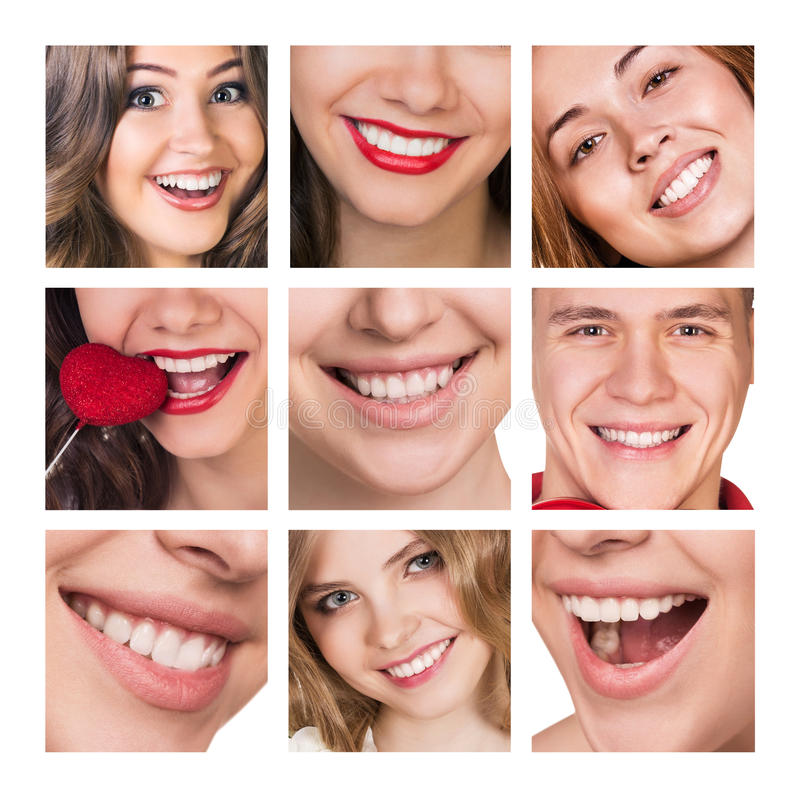 Collage of smiling happy people with healthy teeth stock photography