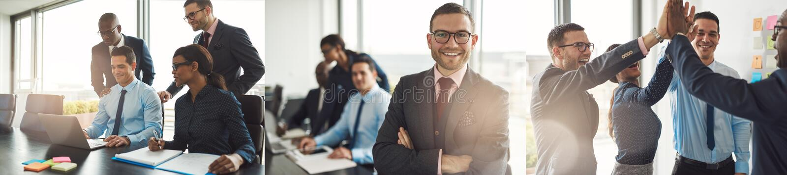 Collage of smiling businesspeople working together in an office royalty free stock photo