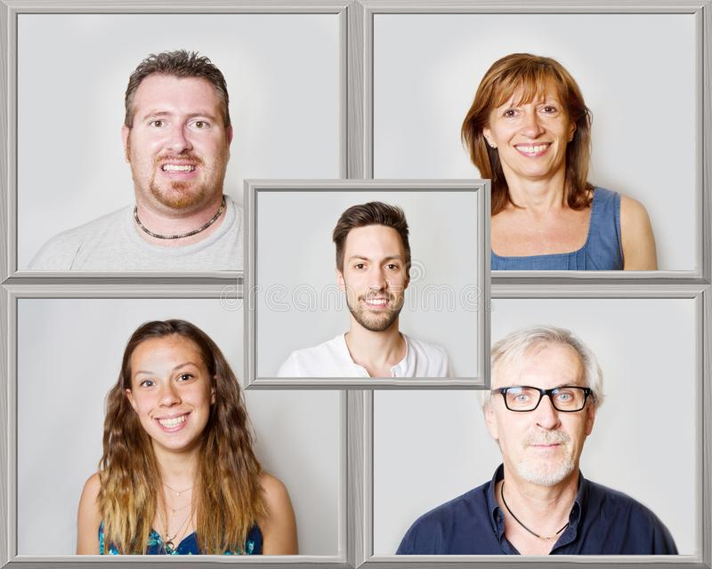 The collage of smiling people royalty free stock images