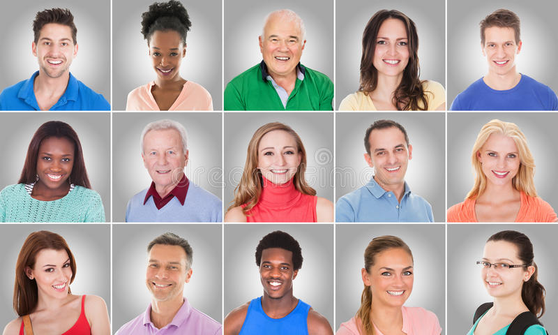 Collage Of Smiling People stock photography