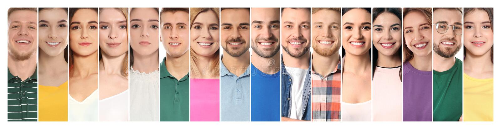 Collage of smiling people, closeup royalty free stock image