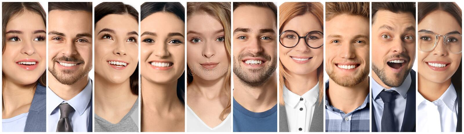 Collage of smiling people, closeup stock image
