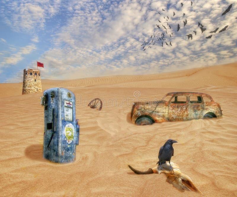 Collage sobre diversa basura ilustración del vector