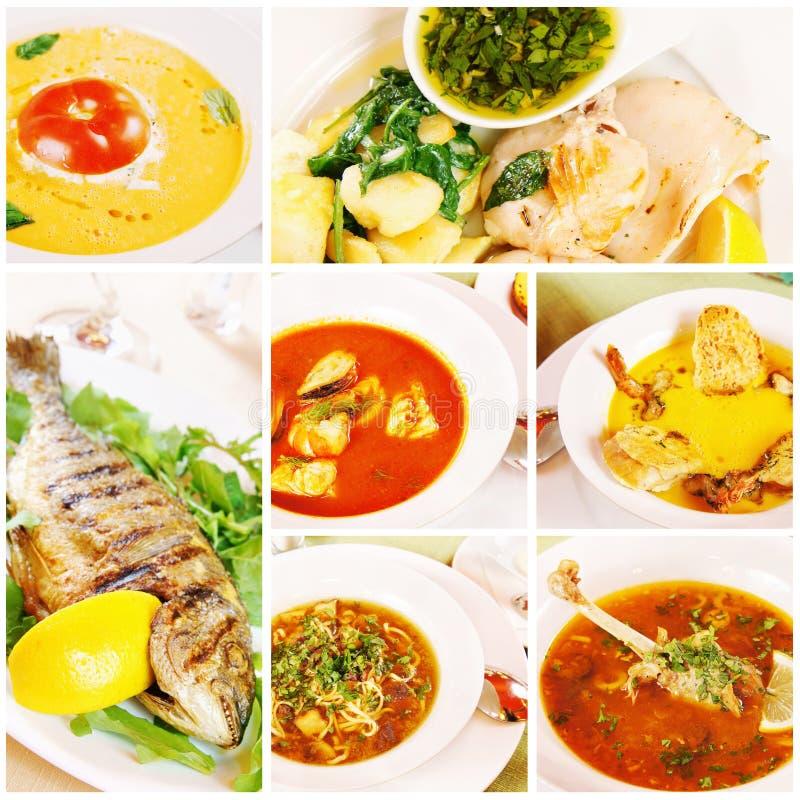 Collage sobre diverso alimento imagen de archivo