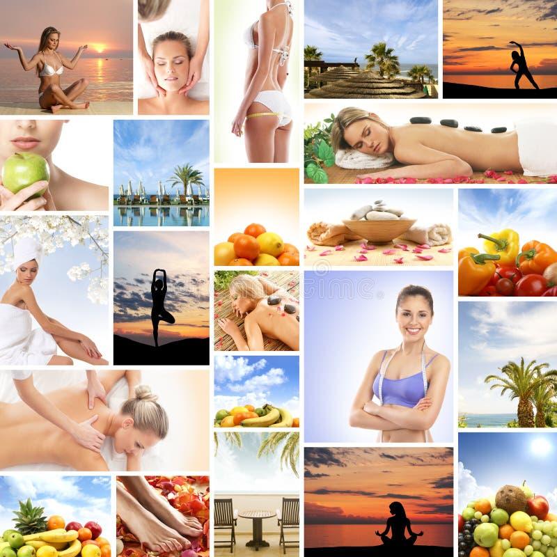 Collage som göras av många olika beståndsdelar: brunnsort medicin som masserar, semesterort royaltyfri bild
