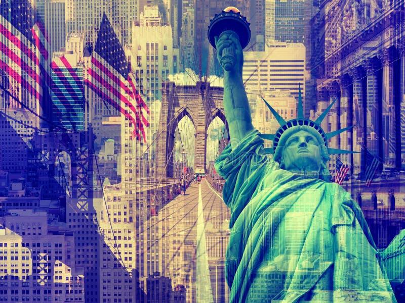 Collage som innehåller flera New York gränsmärken arkivbilder