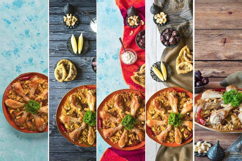 Collage sotto forma di bande verticali che mostrano le ciotole tradizionali arabe Kabsa dell'alimento con carne immagini stock libere da diritti