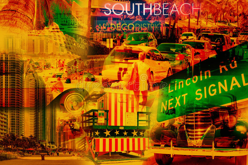 Collage of South Beach Miami. Colorful collage of South Beach Miami images royalty free stock image