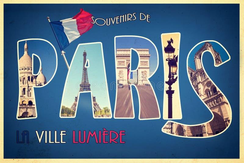 Collage souvenirs de PARIS, la ville lumiere, retro postcard style, vintage proces. Collage souvenirs de PARIS, la ville lumiere (meaning greetings from Paris stock illustration