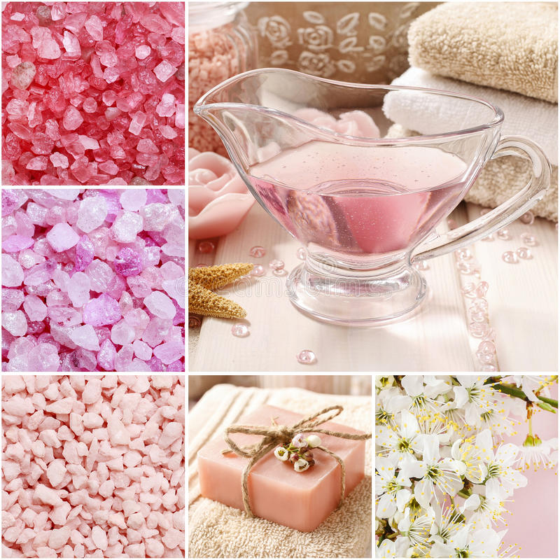 Collage of spa cosmetics stock photo