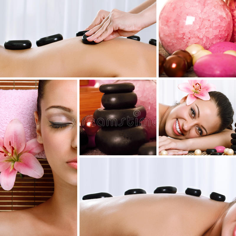 Collage of spa treatments and massages stock images