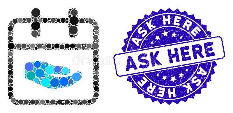 Collage Spende Day Icon mit gekratzter Ask Here Stamp vektor abbildung