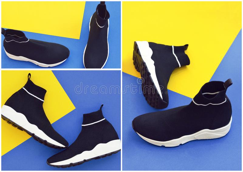 Collage with sports shoes on a trendy classic blue background. The concept of the popular color of 2020. The color of the year is classic blue royalty free stock photo