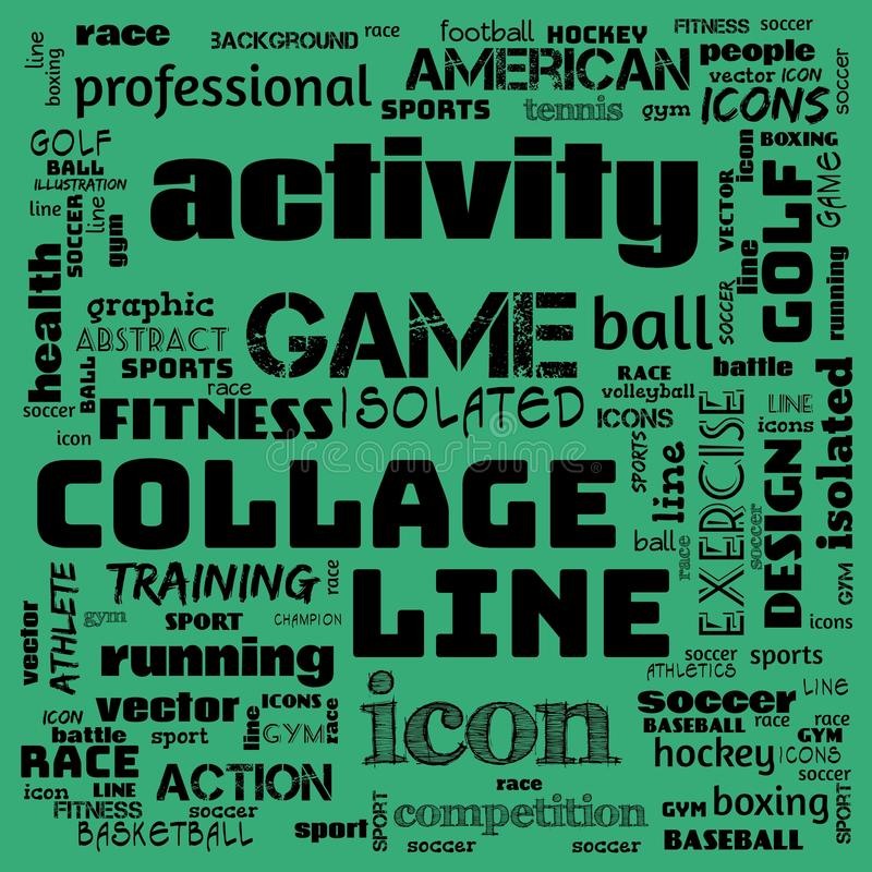 collage sports word cloud green background, all sports, this contain use as banner, painting, motivation, web-page, website royalty free illustration