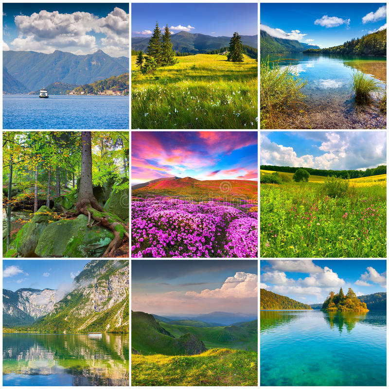Collage with 9 square summer landscapes. Beautiful collage with 9 square summer landscapes stock photos