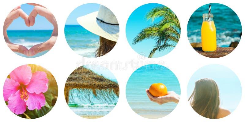 Collage ställde in av runda cirkelsymboler som isolerades på vit bakgrund Sjösidahavsemester på stranden Unga caucasian kvinnapal royaltyfri foto