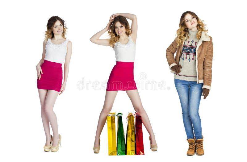 Collage stående som är nära upp av unga härliga kvinnor royaltyfri fotografi