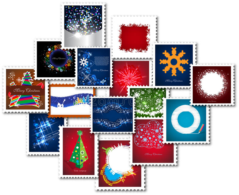 Collage of stamps for new year. Collection vector illustration