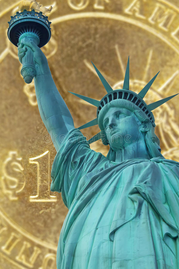 Collage of Statue of Liberty and one dollar coin royalty free stock photo