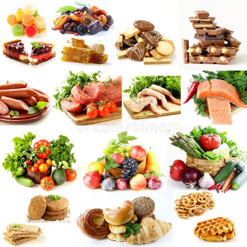 Collage, stellte Ernährungspyramide, gesunde Ernährung ein lizenzfreies stockfoto
