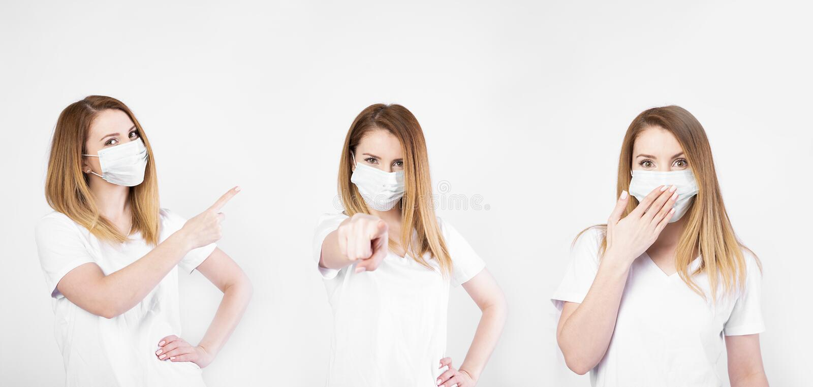 Collage stockfoto. Beautiful caucasian young woman in white t-shirt with disposable face mask. Protection versus viruses and. Infection. Studio portrait stock images