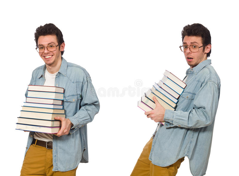 The collage of student with books on white stock photos