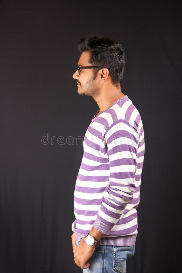 Collage Student In white and purple lining t-shirt stock photo