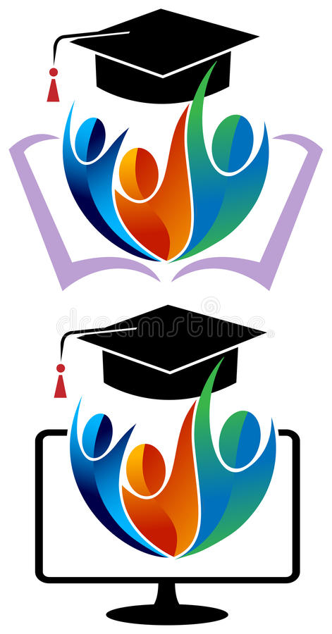 Collage students. Isolated illustrated logo design against white background vector illustration