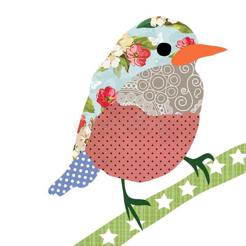 Collage style bird. Patchwork Sparrow illustration. For feminine home decor, women, girls, stickers, paper, scrap booking, card. Collage style bird. Patchwork vector illustration
