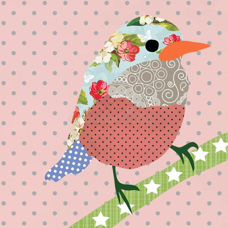 Collage style bird. Patchwork Sparrow illustration. For feminine home decor, women, girls, stickers, paper, scrap booking, card. Design. Pink Polka dot royalty free illustration