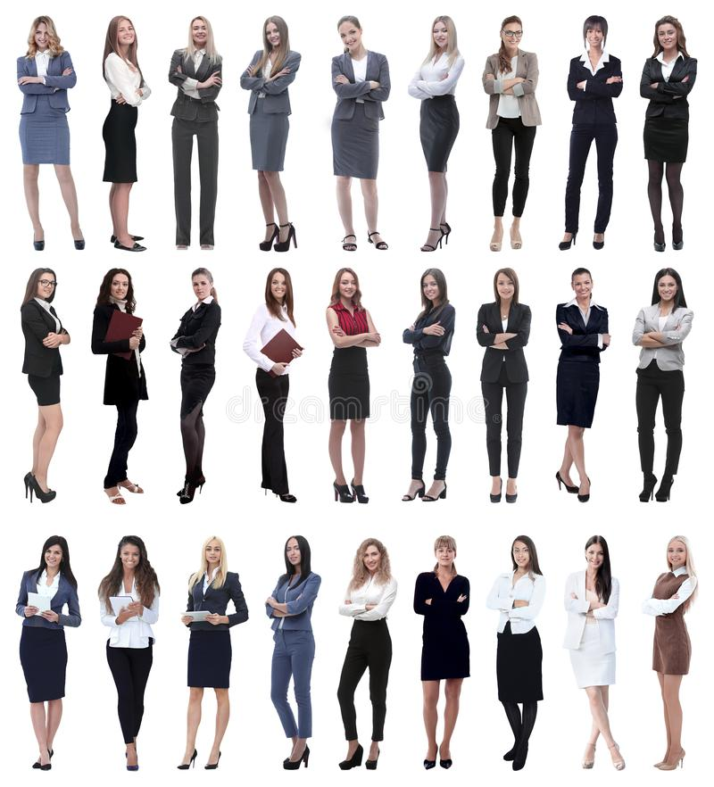 Collage of successful modern businesswoman. isolated on white. Background royalty free stock images