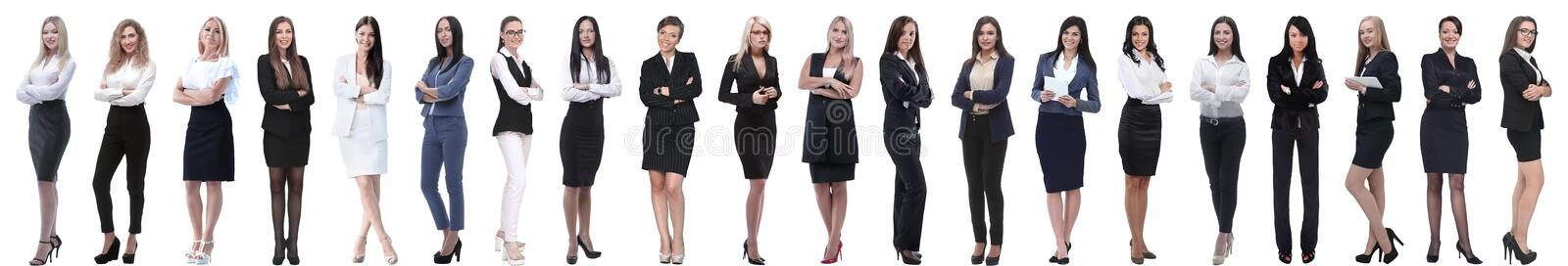 Collage of successful modern businesswoman. isolated on white stock photo