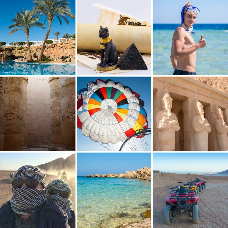 Collage sul tema del viaggio nell'Egitto fotografia stock libera da diritti