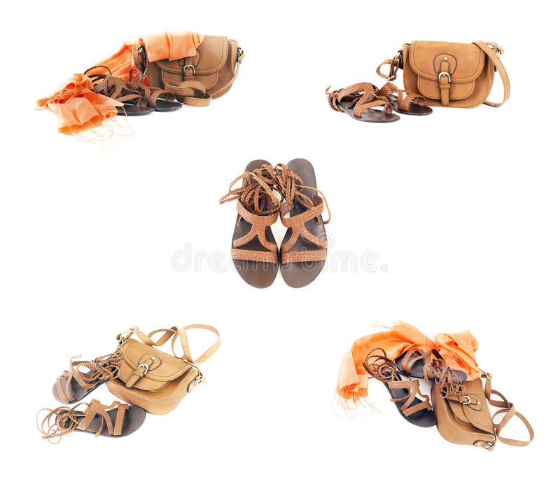 A collage of summer accessories royalty free stock image