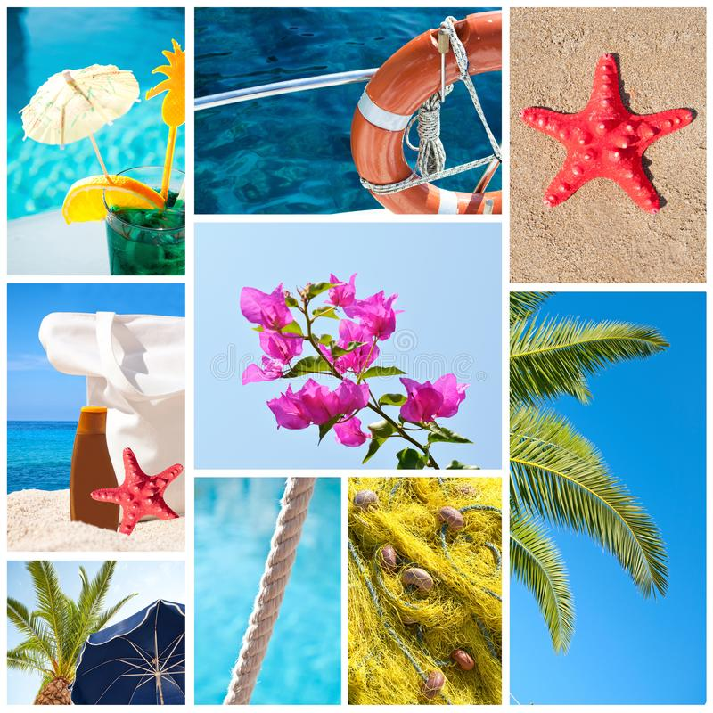 Collage of summer beach images - Holidays concept stock images