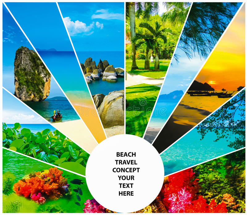 Collage of summer beach images - nature and travel background. Collage of summer beach images - nature and travel locations royalty free stock images