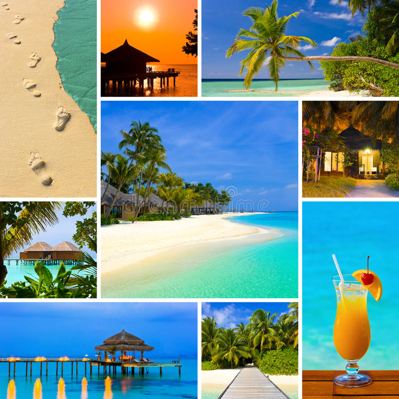 Collage of summer beach maldives images royalty free stock photo