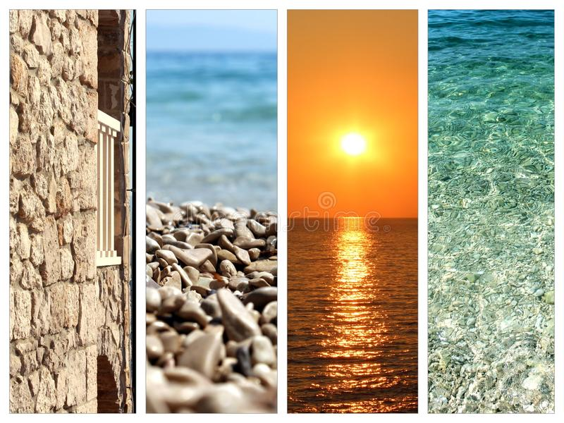 Collage of summer holidays images. Nature and travel background stock photography